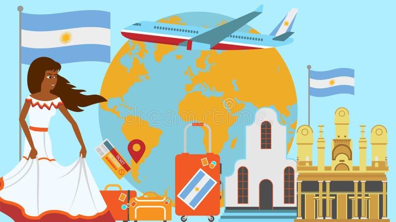 Välkomnande till den Argentina vykortet Lopp- och resabegrepp av illustrationen för Latinoslandsvektor med nationsflaggan av Arge royaltyfri illustrationer