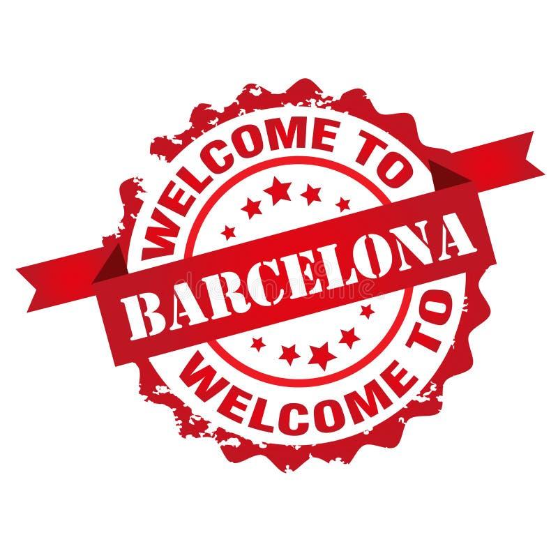 Välkomnande till den Barcelona stämpeln vektor illustrationer