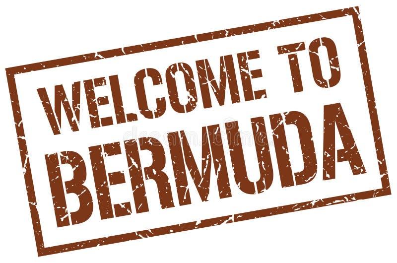 välkomnande till den Bermuda stämpeln stock illustrationer