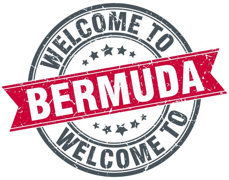välkomnande till den Bermuda stämpeln vektor illustrationer