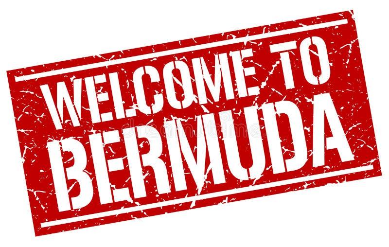 välkomnande till den Bermuda stämpeln royaltyfri illustrationer
