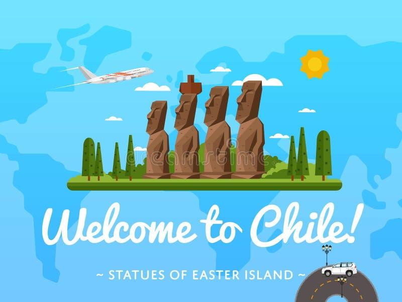 Välkomnande till den Chile affischen med den berömda dragningen stock illustrationer