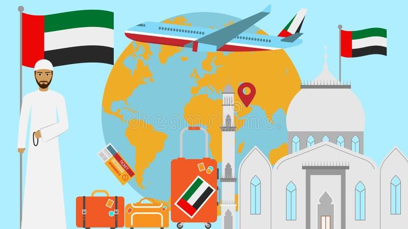 Välkomnande till den Förenade Arabemiraten vykortet Lopp- och resabegrepp av den islamiska landsvektorillustrationen med nationsf vektor illustrationer