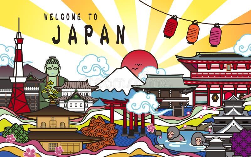 Välkomnande till den Japan affischdesignen stock illustrationer