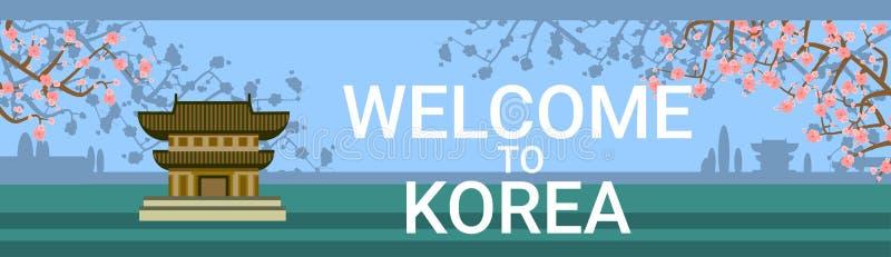 Välkomnande till den Korea affischen med den traditionella templet eller slotten över att blomma Sakura Tree Background royaltyfri illustrationer