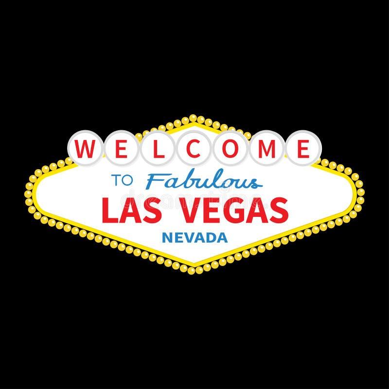 Välkomnande till den Las Vegas teckensymbolen Klassiskt retro symbol stock illustrationer