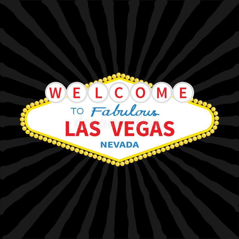 Välkomnande till den Las Vegas teckensymbolen Klassiskt retro symbol Nevada siktshowplace Plan design Svart starburstsunburstbakg stock illustrationer