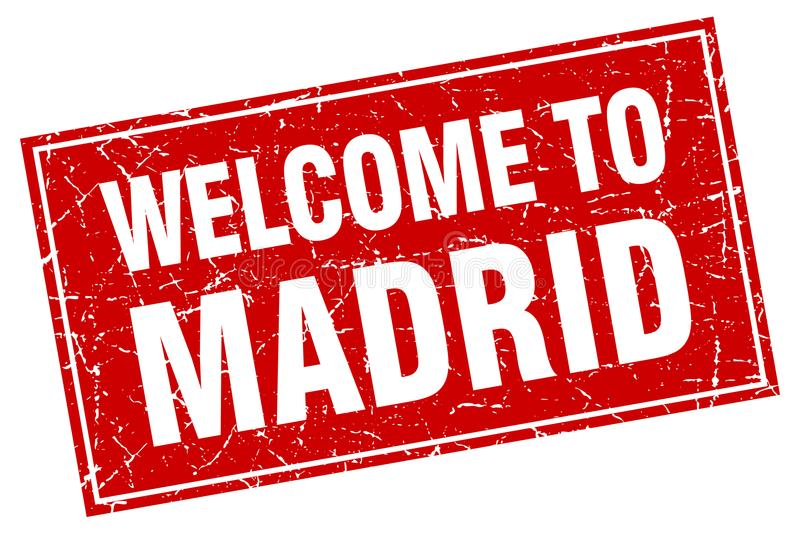 Välkomnande till den Madrid stämpeln vektor illustrationer