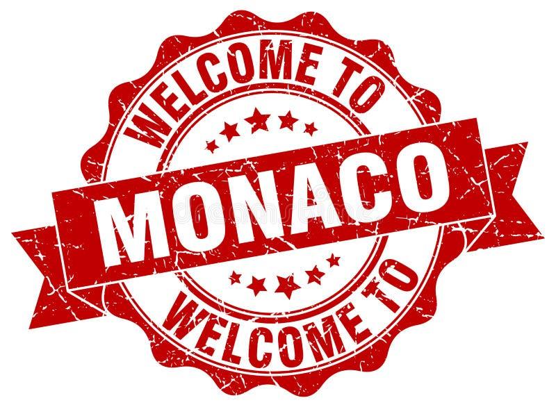 Välkomnande till den Monaco skyddsremsan stock illustrationer