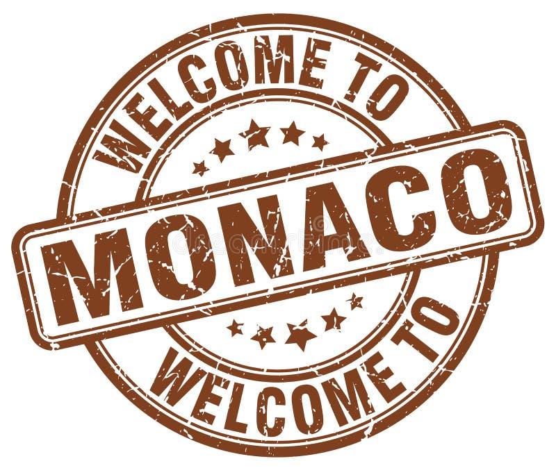 välkomnande till den Monaco stämpeln vektor illustrationer