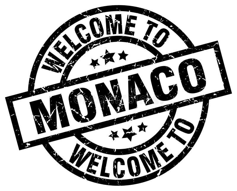 välkomnande till den Monaco stämpeln royaltyfri illustrationer