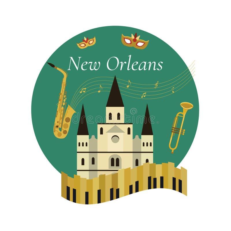 Välkomnande till den New Orleans affischen med berömda symboler royaltyfri illustrationer