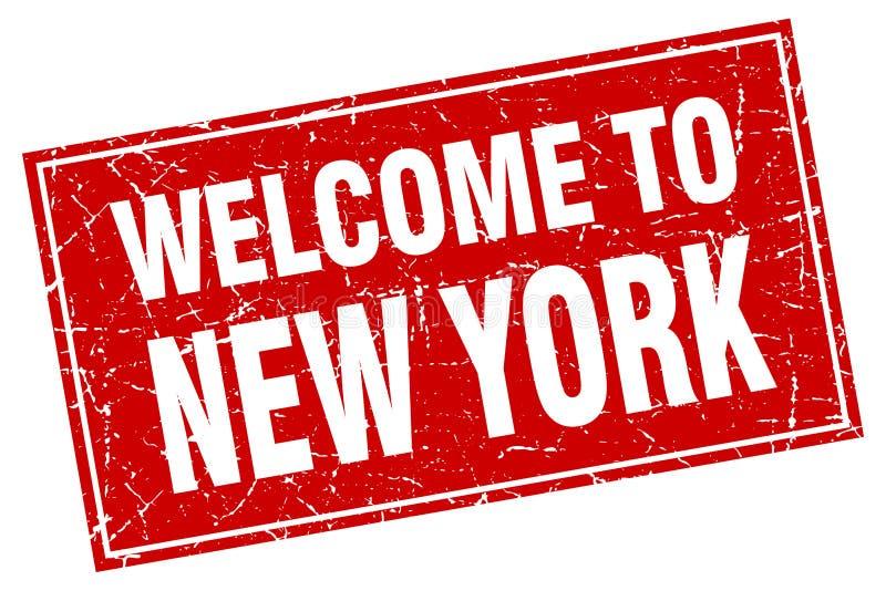 Välkomnande till den New York stämpeln royaltyfri illustrationer
