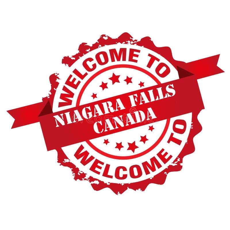 Välkomnande till den Niagara Falls Kanada stämpeln vektor illustrationer
