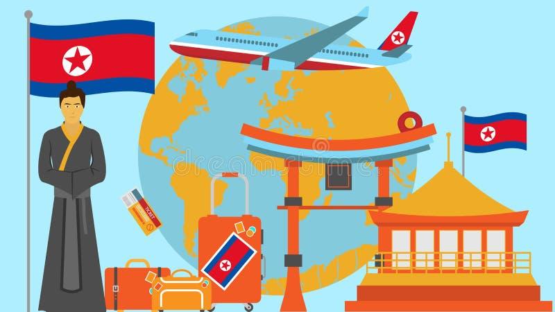 Välkomnande till den Nordkorea vykortet Lopp- och safaribegrepp av illustrationen för Asien världskartavektor med nationsflaggan stock illustrationer