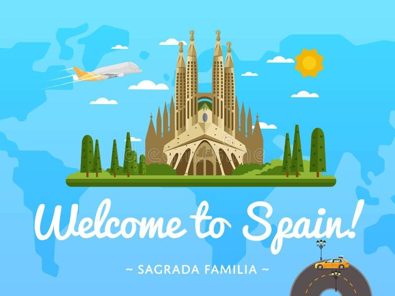 Välkomnande till den Spanien affischen med den berömda dragningen royaltyfri illustrationer