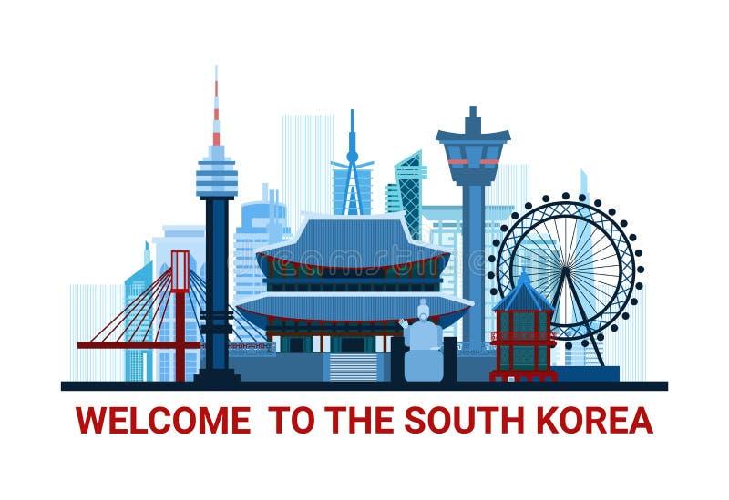 Välkomnande till den Sydkorea affischen med den berömda konturn för nationella gränsmärken som isoleras på vit bakgrund stock illustrationer