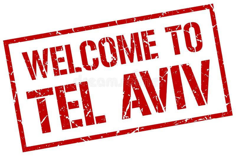välkomnande till den Tel Aviv stämpeln stock illustrationer