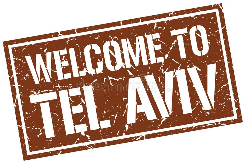 välkomnande till den Tel Aviv stämpeln vektor illustrationer