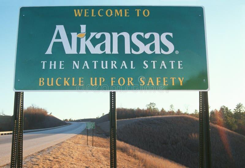 Välkomnande till det Arkansas tecknet royaltyfria bilder