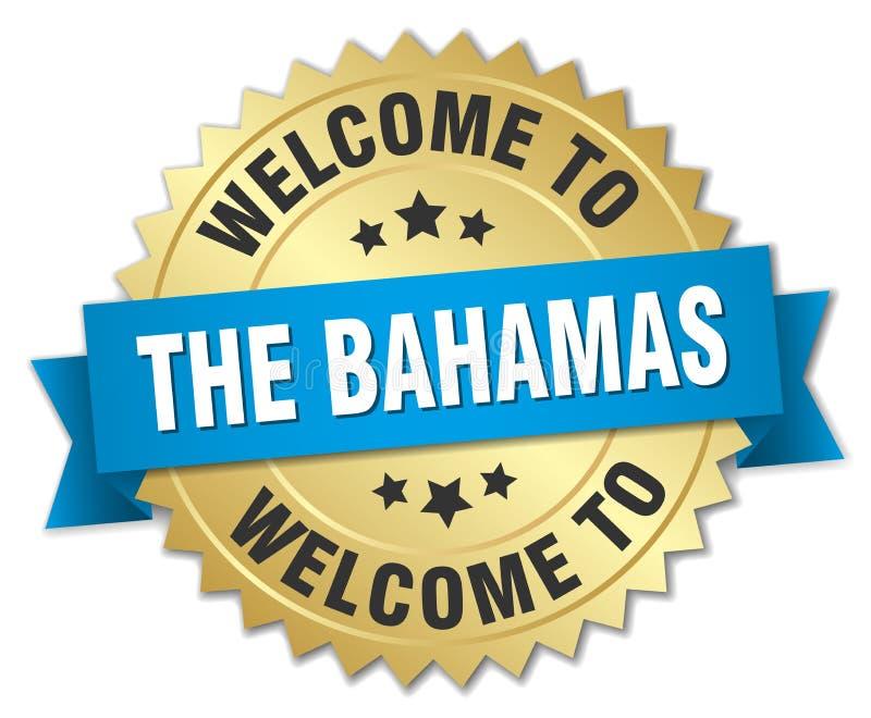 välkomnande till det Bahamas emblemet royaltyfri illustrationer