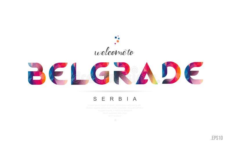 Välkomnande till det belgrade Serbien kortet och icoen för typografi för bokstavsdesign stock illustrationer