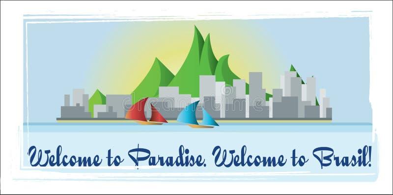 Välkomnande till det Brasilien paradiskortet med berg, fartyg och stadssikt över vit bakgrund, i översikter vektor illustrationer
