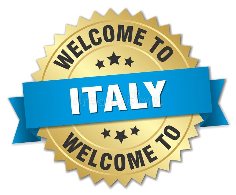 välkomnande till det Italien emblemet stock illustrationer