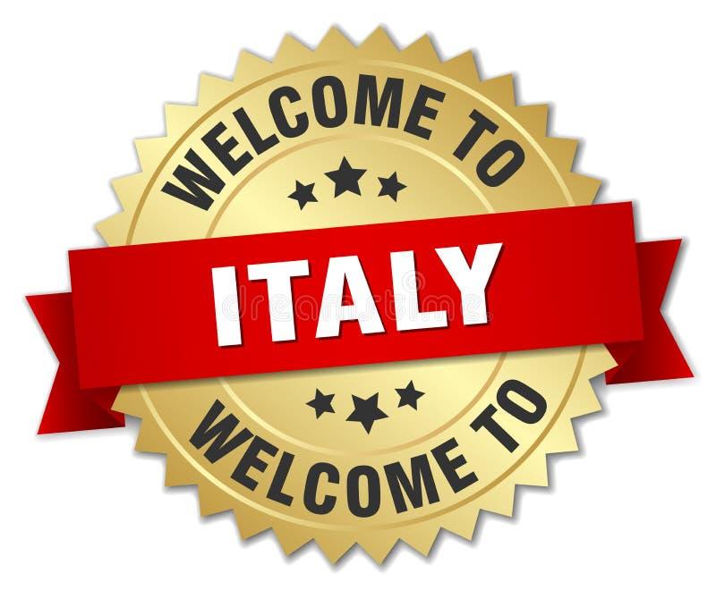 välkomnande till det Italien emblemet royaltyfri illustrationer