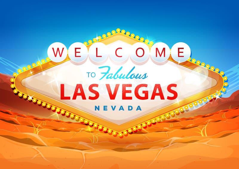 Välkomnande till det Las Vegas tecknet på ökenbakgrund royaltyfri illustrationer