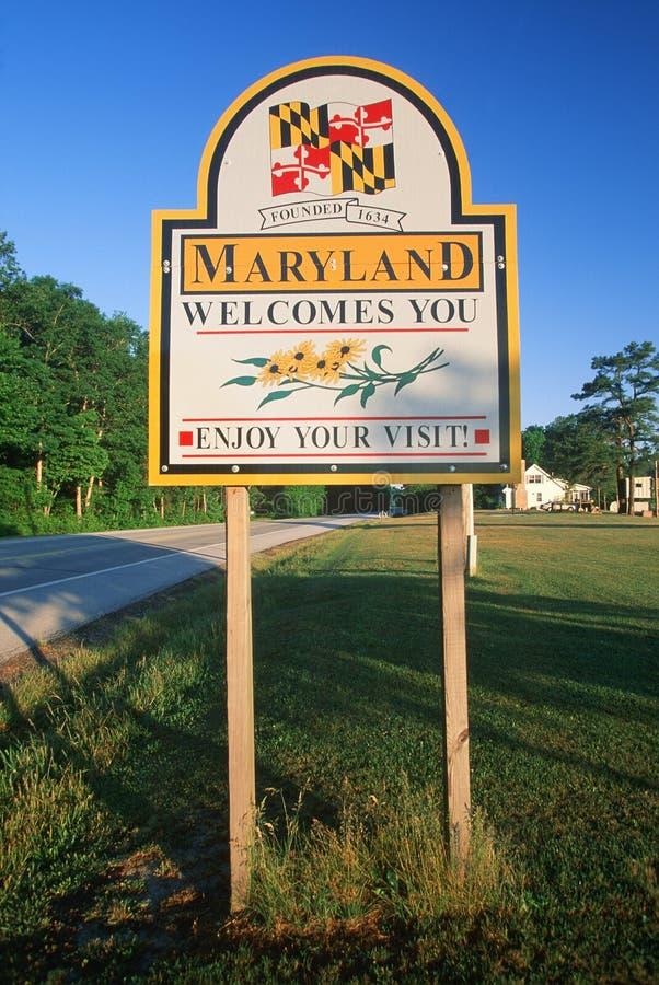 Välkomnande till det Maryland tecknet royaltyfria bilder