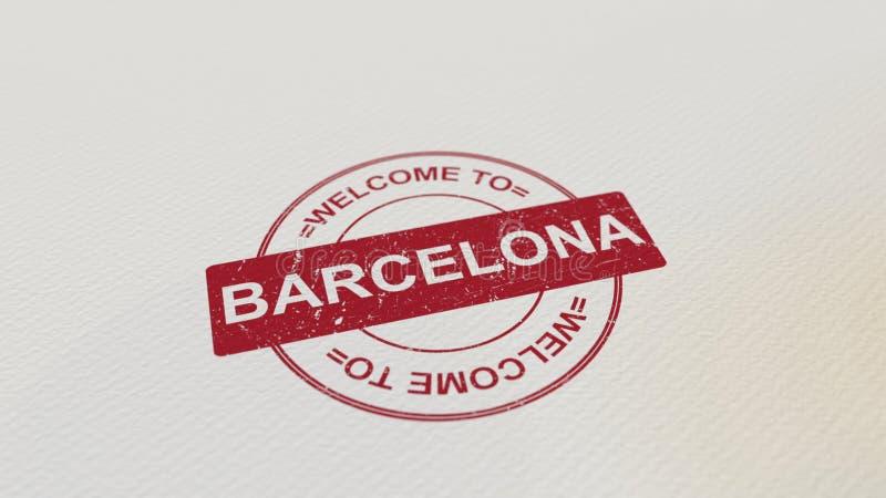 VÄLKOMNANDE TILL det röda trycket för BARCELONA stämpel på papperet framförande 3d stock illustrationer