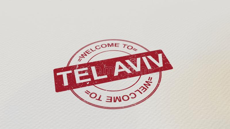VÄLKOMNANDE TILL det röda trycket för TEL AVIV stämpel på papperet framförande 3d royaltyfri illustrationer
