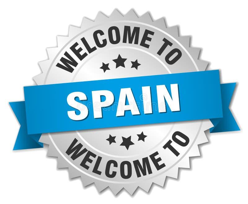 välkomnande till det Spanien emblemet stock illustrationer