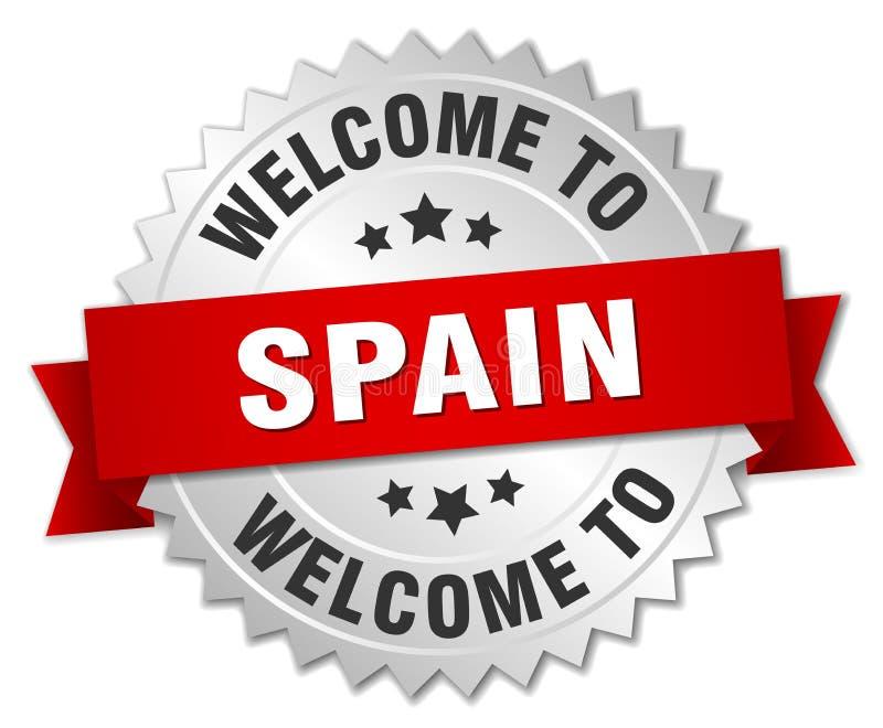 välkomnande till det Spanien emblemet royaltyfri illustrationer