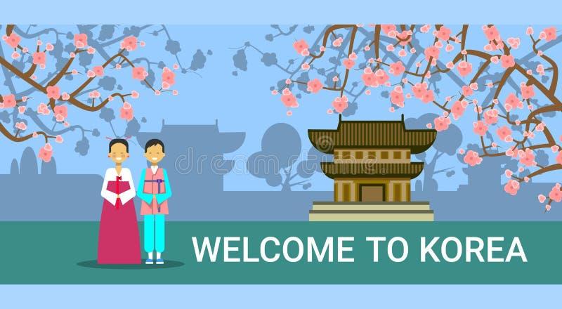Välkomnande till det Sydkorea banret, koreansk kupé i traditionella dräkter över Seoul gränsmärken vektor illustrationer