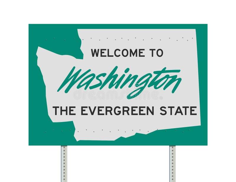 Välkomnande till det Washington vägmärket royaltyfri illustrationer