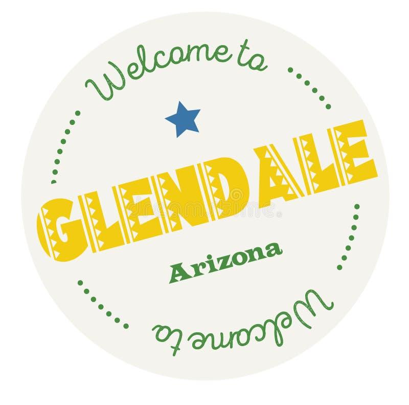 Välkomnande till Glendale Arizona stock illustrationer