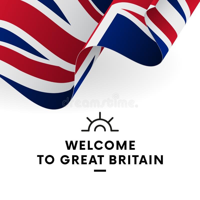 Välkomnande till Great Britain Storbritannien flagga Patriotisk design vektor stock illustrationer