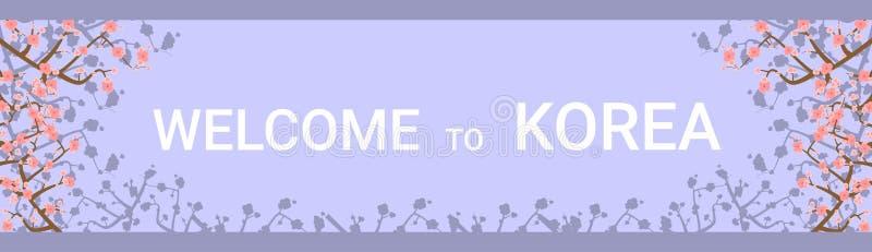 Välkomnande till horisontalaffischen Korea för resande destination med härliga Sakura Tree Flowers On Background vektor illustrationer