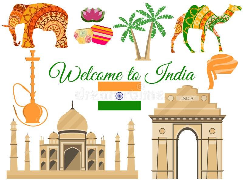 Välkomnande till Indien, Indias traditionella symboler, symbolsdragningar royaltyfri illustrationer