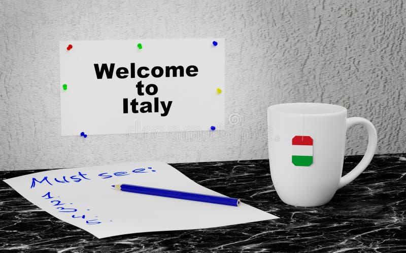 Välkomnande till Italien royaltyfri illustrationer