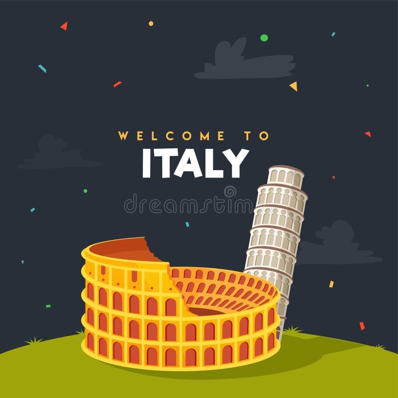 Välkomnande till Italien, affischen, banret eller reklambladet med Colosseum, Rome a royaltyfri illustrationer