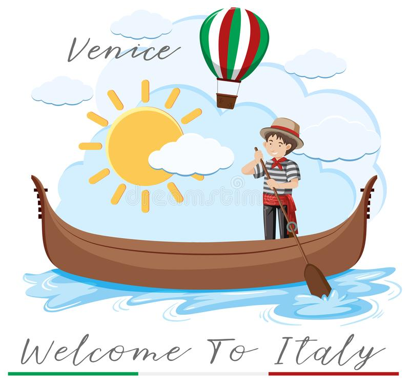 Välkomnande till Italien med det venice fartyget stock illustrationer
