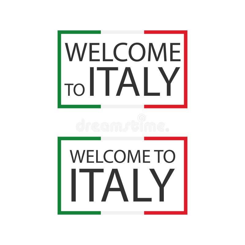 Välkomnande till Italien symboler med flaggor, enkla moderna italienska symboler som isoleras på vit bakgrund royaltyfri illustrationer