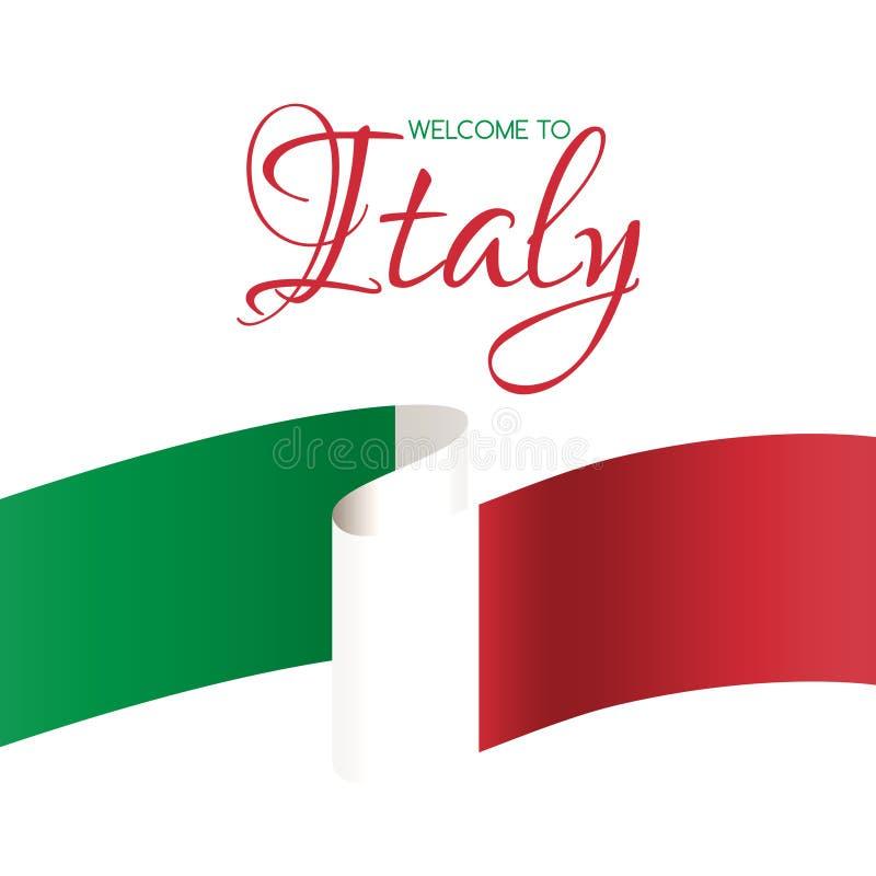 Välkomnande till Italien Välkommet kort för vektor med flaggan av Italien royaltyfri illustrationer