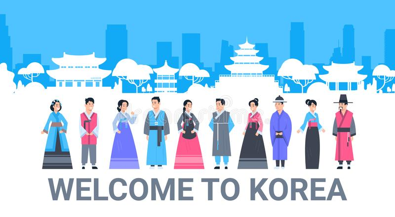 Välkomnande till Korea folk i traditionella dräkter över för gränsmärkekontur för slott den berömda koreanska affischen för turis royaltyfri illustrationer