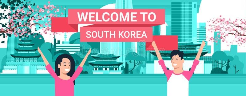 Välkomnande till koreanska par för Sydkorea affisch över Seoul stadsbakgrund med skyskrapor och gränsmärken stock illustrationer