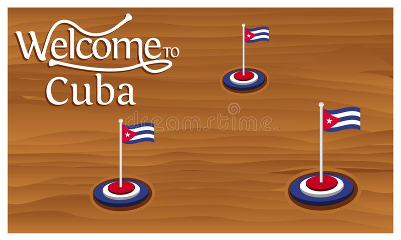 Välkomnande till Kubaaffischen med Kubaflaggan, tid att resa Kuba Isolerad vektorillustration vektor illustrationer