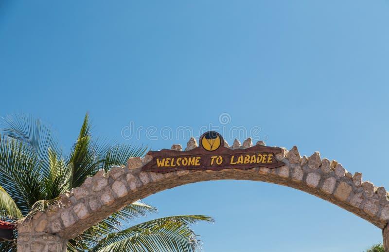 Välkomnande till Labadee arkivbild